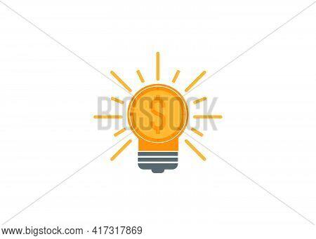 Flat Design Style Idea And Money, Symbolize Financial Idea, Investment Idea. Vector Ilustration. Per