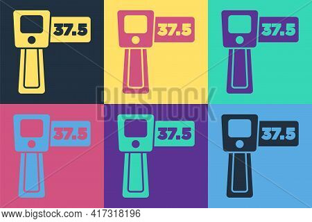 Pop Art Digital Contactless Thermometer With Infrared Light Icon Isolated On Color Background. Vecto