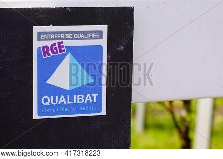 Bordeaux , Aquitaine France - 04 12 2021 : Qualibat Certification Represents Qualification Label Sig
