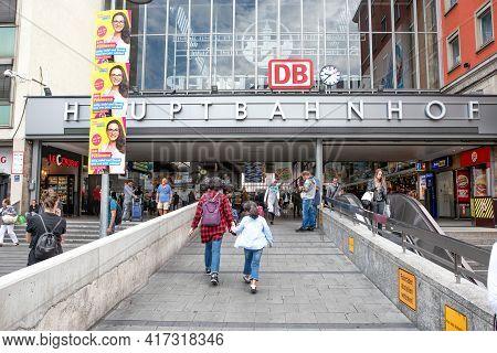 Munich, Germany - September 13, 2018: The Main Entrance Of Munich Main Railway Station Hauptbahnhof.