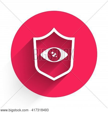 White Shield Eye Scan Icon Isolated With Long Shadow. Scanning Eye. Security Check Symbol. Cyber Eye