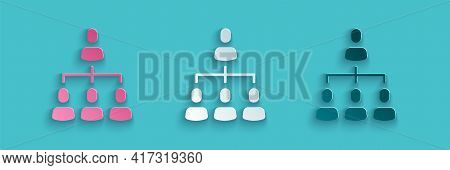 Paper Cut Business Hierarchy Organogram Chart Infographics Icon Isolated On Blue Background. Corpora