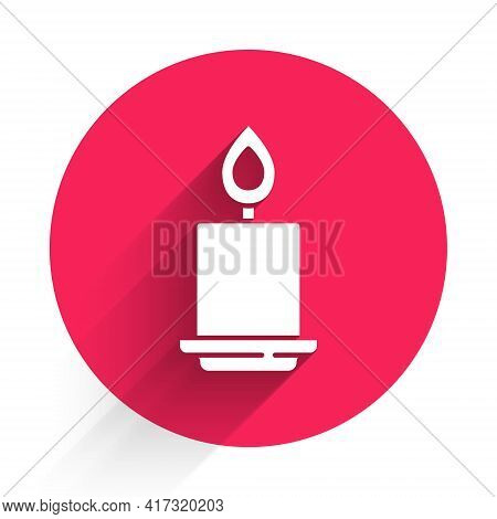 White Burning Candle Icon Isolated With Long Shadow. Cylindrical Aromatic Candle Stick With Burning