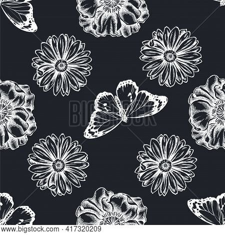 Seamless Pattern With Hand Drawn Chalk Poppy Flower, Calendula, Plain Tiger Stock Illustration