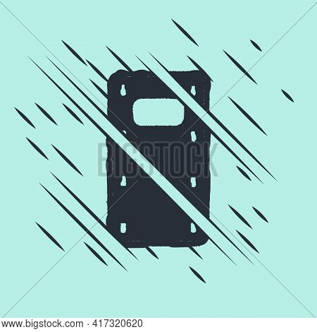 Black Military Assault Shield Icon Isolated On Green Background. Glitch Style. Vector
