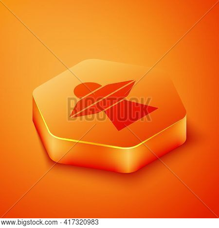 Isometric Ufo Flying Spaceship Icon Isolated On Orange Background. Flying Saucer. Alien Space Ship.