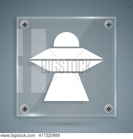 White Ufo Flying Spaceship Icon Isolated On Grey Background. Flying Saucer. Alien Space Ship. Futuri