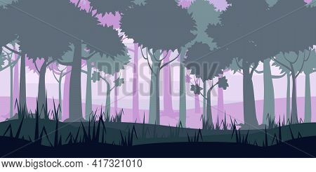 Jungle Tropical Forest Landscape Horizontal Seamless Background For Games Apps, Design. Nature Woods