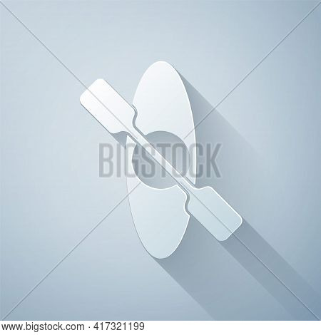 Paper Cut Kayak And Paddle Icon Isolated On Grey Background. Kayak And Canoe For Fishing And Tourism