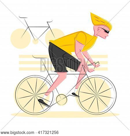 Vector Sporty Cyclist In Shadow Of Sharp Lines Style