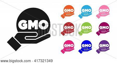 Black Gmo Icon Isolated On White Background. Genetically Modified Organism Acronym. Dna Food Modific