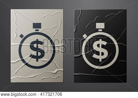 White Time Is Money Icon Isolated On Crumpled Paper Background. Money Is Time. Effective Time Manage