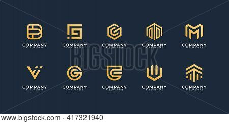 Set Of Business Company Logo Icon Design Collection. Logo Can Be Used For Icon, Brand, Identity, Tec
