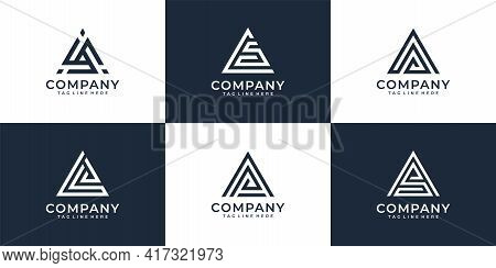 Set Of Letter A Creative Business Company Logo Design Template. Logo Can Be Used For Icon, Brand, Id