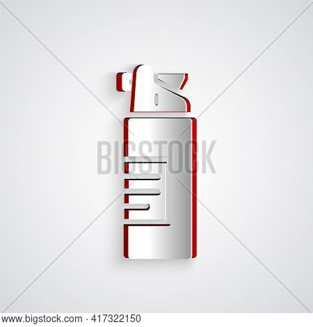 Paper Cut Weapons Oil Bottle Icon Isolated On Grey Background. Weapon Care. Paper Art Style. Vector
