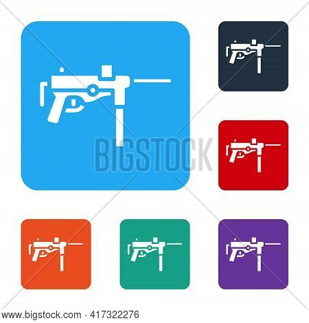 White Submachine Gun M3, Grease Gun Icon Isolated On White Background. Set Icons In Color Square But