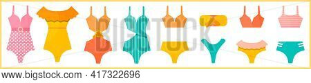 Summer Bright Swimsuits With Different Design. Set Of Hand-drawn Beachwear.