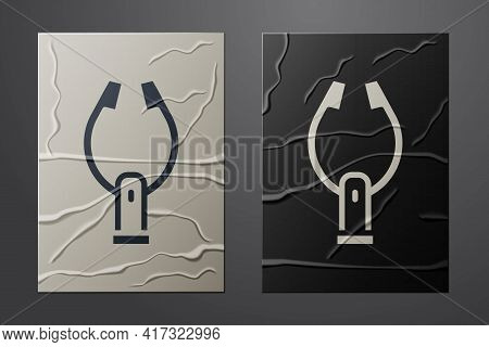 White Meat Tongs Icon Isolated On Crumpled Paper Background. Bbq Tongs Sign. Barbecue And Grill Tool