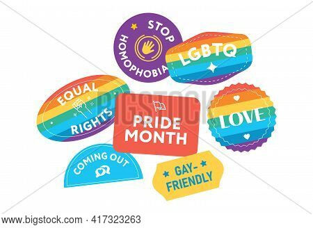 Lgbtq Stickers Collection Vector. Pride Month. Pride Flag. Gay Parade Symbols. Badges. Gay Friendly