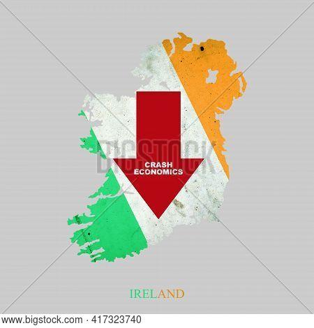 Crash Economics, Ireland. Red Down Arrow On The Map Of Ireland. Economic Decline. Downward Trends In