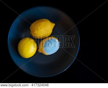 Three Whole Yellow Bright Lemons On A Dark Blue Plate. One Lemon With Light Blue Turquoise Textured