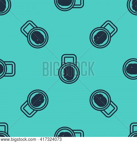 Black Line Fingerprint With Lock Icon Isolated Seamless Pattern On Green Background. Id App Icon. Id