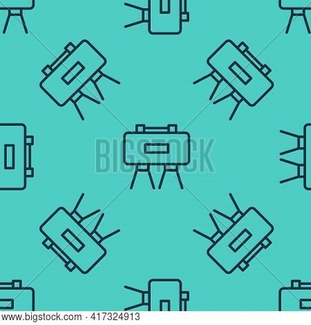 Black Line Military Mine Icon Isolated Seamless Pattern On Green Background. Claymore Mine Explosive