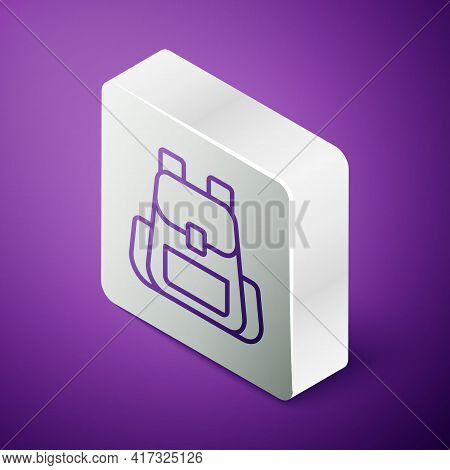 Isometric Line Hiking Backpack Icon Isolated On Purple Background. Camping And Mountain Exploring Ba
