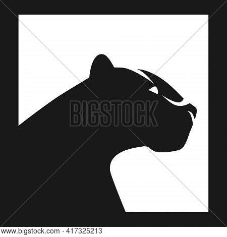 Black Panther Side View White Symbol On Black Backdrop. Design Element