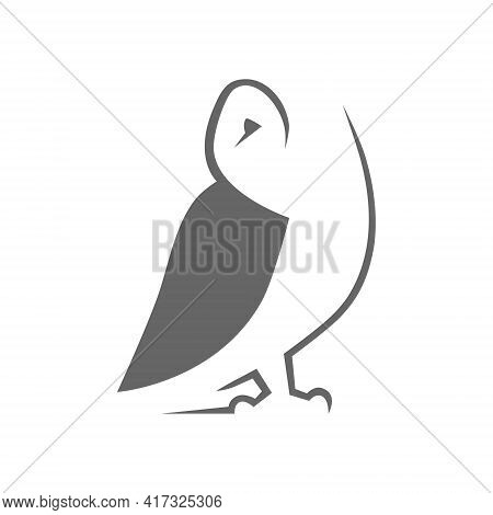 Gray Barn Owl Symbol On White Backdrop. Design Element