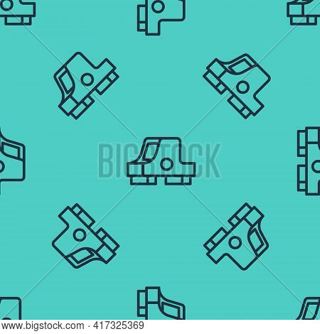 Black Line Collimator Sight Icon Isolated Seamless Pattern On Green Background. Sniper Scope Crossha