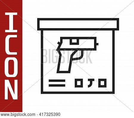 Black Line Military Ammunition Box With Some Ammo Bullets Icon Isolated On White Background. Vector