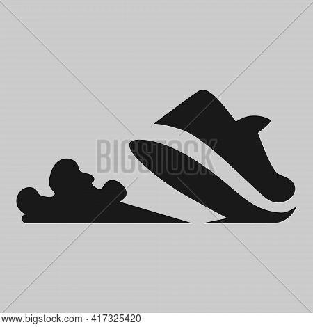 Sports Running Shoe Symbol On Gray Backdrop. Design Element