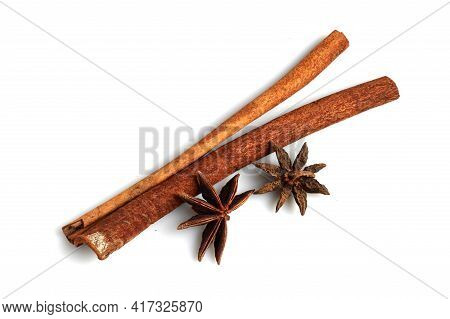 Cinnamon Sticks And Star Anise Spices Isolated On White Background
