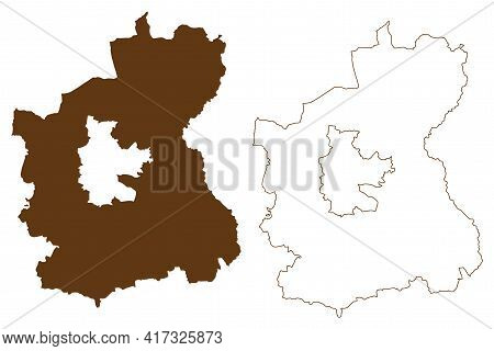 Spree-neisse District (federal Republic Of Germany, Rural District, State Of Brandenburg) Map Vector