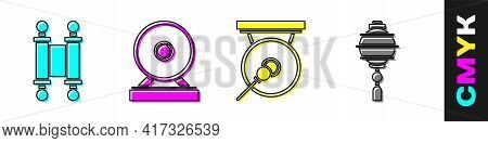 Set Decree, Paper, Parchment, Scroll, Gong, Gong And Chinese Paper Lantern Icon. Vector