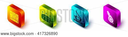 Set Isometric Locker Or Changing Room, Hockey Stadium, Ice Hockey Cup Champion And Whistle Icon. Vec