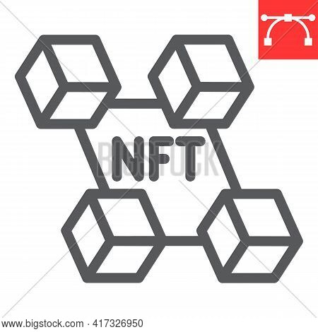 Nft Blockchain Line Icon, Unique Token And Blockchain, Non Fungible Token Vector Icon, Vector Graphi