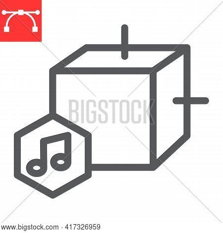 Music Nft Line Icon, Unique Token And Nft Blockchain, Non Fungible Token Vector Icon, Vector Graphic