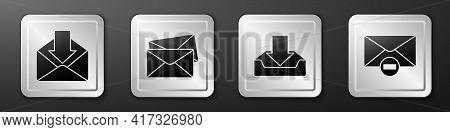 Set Envelope, Envelope, Download Inbox And Delete Envelope Icon. Silver Square Button. Vector