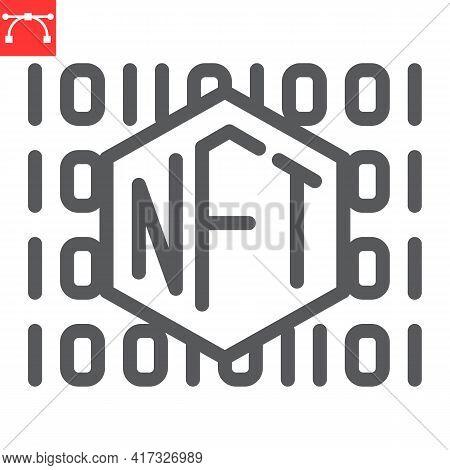 Nft Code Line Icon, Unique Token And Non Fungible Token, Nft Vector Icon, Vector Graphics, Editable
