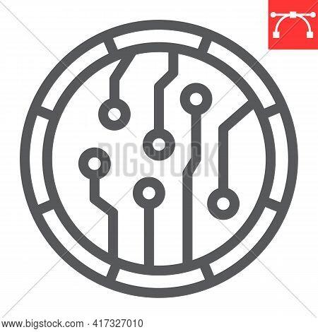 Crypto Coin Line Icon, Unique Token And Blockchain, Non Fungible Token Vector Icon, Vector Graphics,