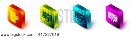 Set Isometric Mobile And Envelope, Delete Envelope, Envelope And Check Mark And Mail Message Lock Pa