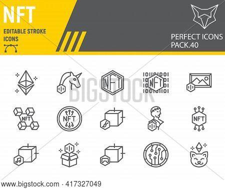 Nft Line Icon Set, Non Fungible Token Collection, Vector Graphics, Logo Illustrations, Nft Blockchai