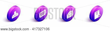 Set Isometric Download Inbox, Speech Bubble Chat, Outgoing Mail And Envelope And Check Mark Icon. Ve