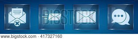 Set Delete Envelope, Express Envelope, Envelope And Speech Bubble Chat. Square Glass Panels. Vector