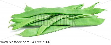 Green Beans Isolated On A White Background. Side View Of Fresh Pea Pods. Bunch Of Organic Beans
