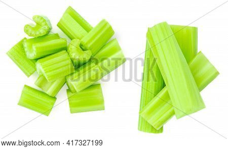 Fresh Celery Isolated On White Background. Cutted Celery Sticks. Top View. Set. Collection