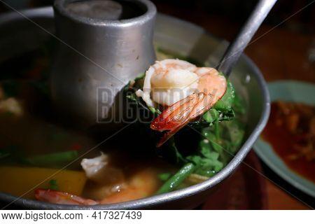 Shrimp Soup, Shrimp And Vegetable Soup Or Spicy Shrimp Soup