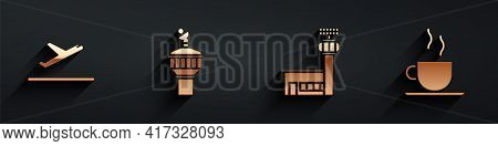 Set Plane Takeoff, Radar, Airport Control Tower And Coffee Cup Icon With Long Shadow. Vector